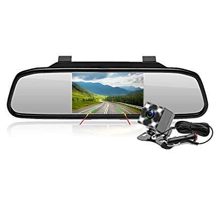 Podofo Rückfahrkamera 4,3 Zoll LCD TFT Bildschirm Rückspiegel + 4 LEDs Mini wasserdichte Nachtsichtkamera 170 Grad leicht zu installieren