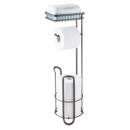 mDesign Portarrollos de pie para colocar sin tornillos - Portarrollo papel higienico para el baño - Práctico dispensador de papel con cepillo con estante de apoyo - Color: bronce