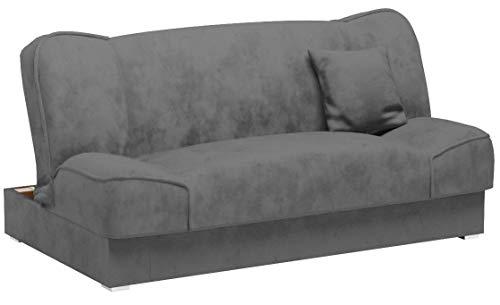 Mirjan24 Gemini mit Bettkasten, 3 Sitzer Sofa, Couch mit Schlaffunktion, Bettsofa Schlafsofa Polstersofa Farbauswahl Couchgarnitur, Microfaser, Orinoco 96, 175 x 80 x 80 cm