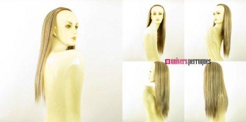 Demi-tête, demi-perruque longue lisse 60 cm blond clair méché cuivré clair et chocolat ref 014 en 15613h4