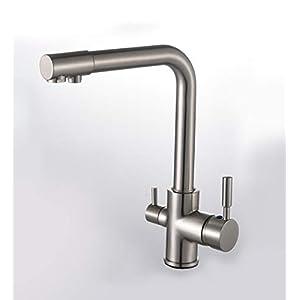 Solepearl Grifería de cocina de 3 vías, agua potable, agua fría y caliente, 2 asas, boquilla giratoria