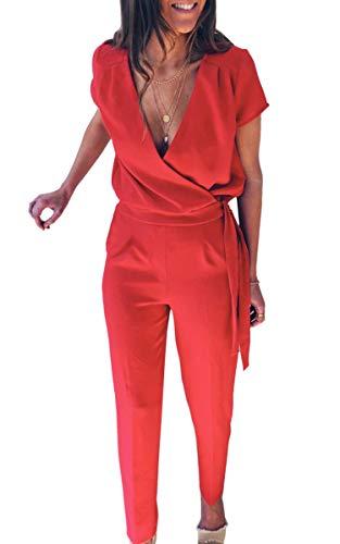 Rot Casual Schuhe (Spec4Y Damen Sommer Lang Jumpsuit V-Ausschnitt Kurzarm Overall Einfarbig Casual Hosenanzug mit Taschen und Gürtel 22 Rot M)