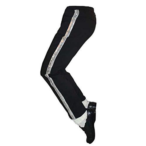Guangmu Michael Jackson Schwarz Hosen Pants Billie Jean Rollenspiele Tanzparty Kostüme für Erwachsener und Kind Pants + Socken (Kind (H: 130cm W: 28-32 kg)) (Michael Jackson Kostüme Billie Jean)