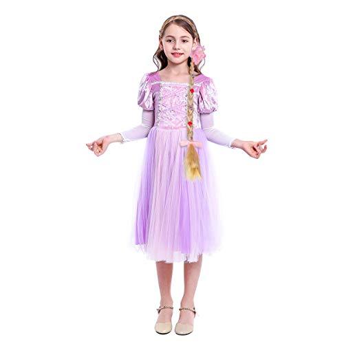 Mädchen Kostüm Rapunzel Prinzessin Kleid Grimms Märchen Cosplay Halloween Kostüm Partei Outfit Festival Karnerval Geburtstag Partykleid Fotoshooting Kinder Kleinkinder 2tlg 7-8 Jahre (Rapunzel Kostüm Kleinkind)