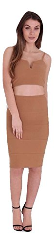 Ladies Summer Holiday Strappy Crop Top Bralet Pencil Skirt Coordinate Set UK Size 8-14 (UK 14 (EUR 42), Mocha)