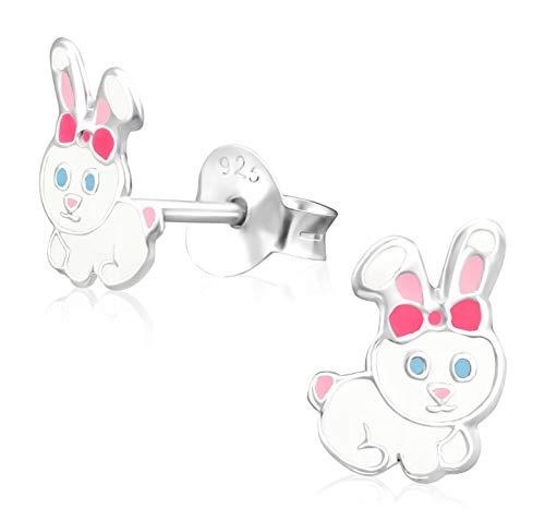 s Kinder-Ohrstecker Ohrringe Kinderschmuck Hase Kaninchen 8 x 5 mm weiß, rosa Sterling Silber 925 ()