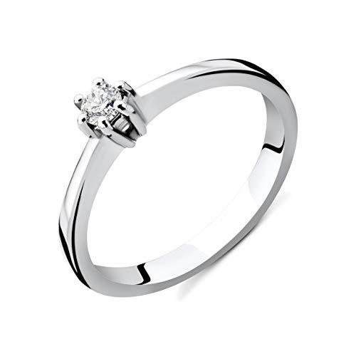 Orovi Damen Diamant Ring Weißgold, Verlobungsring 14 Karat (585) Gold und Diamant Brillanten 0.12 Ct, Solitärring Ring Handgemacht in Italien (Ring Damen Weißgold Diamant)