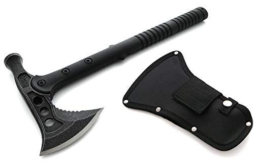 KOSxBO® Profi Tomahawk Camping-Axt Kriegs-Beil Schwarz Outdoor Survival Hammer Werkzeug Ausrüstung im Set mit Gürtelholster - BEIL TOMAHAWK