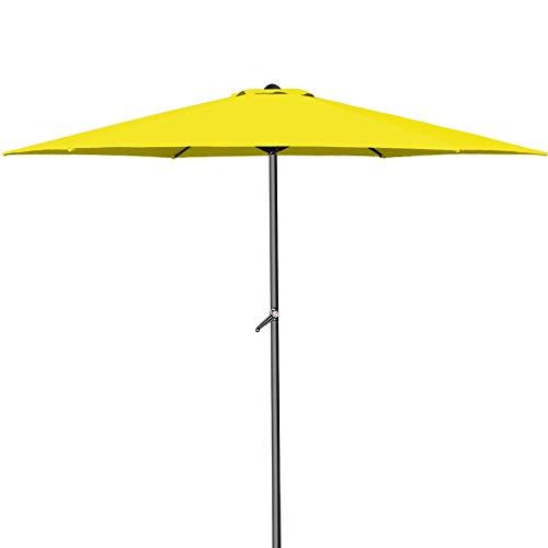Deuba® Kurbelsonnenschirm Aluminium Ø300cm inkl. Kurbel + Dachhaube mit Neigevorrichtung gelb - Sonnenschirm Marktschirm Gartenschirm