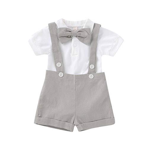 MRULIC Infant Baby Jungen Gentleman Strampler Hosenträger Strap Shorts Outfits Sets Sommer Kurzarm Shirt und Hose(Grau,85-90CM)