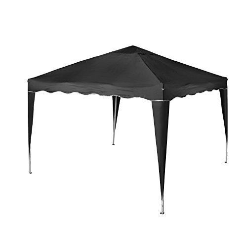 Vanage Pavillon Stella schwarz aus Aluminium ohne Seitenwände, 300x300x260cm, Faltpavillon einsetzbar als Gartenpavillon, Party- und Festzelt, Camping- und Festival-Zelt, Gartenmöbel