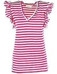 VICOLO T-Shirt Donna Bianco Fuxia Fc0176 Primavera Estate 2018 8260199c105