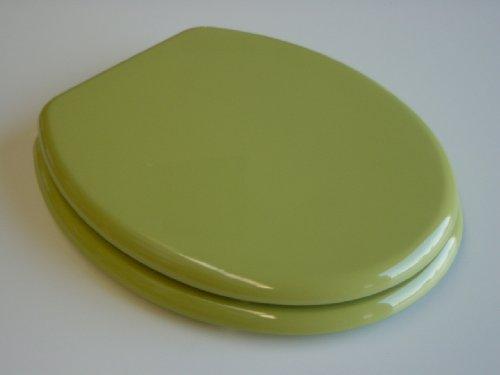ADOB WC Sitz Klobrille Holzkern verstellbare messingverchromte Scharniere, moosgrün, 85074