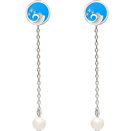 Hof Wind Alten Wind Eine Vielzahl Von Daifa Ohrringe Chinesische Wind Ohr Nagel Anhänger Super Fee S925 Silber Stift 5,9 x 1cm blau -