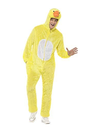 Smiffys Unisex Enten Kostüm, Jumpsuit mit Kapuze, Größe: M, - Adult Ente Kostüm