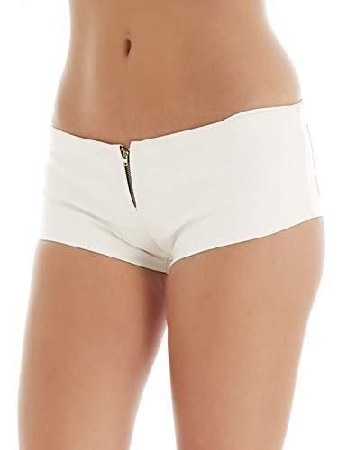 Freebily Damen Kurze Hosen aus Kunstleder Hotpants Hipster Panty Panties mit Reißverschluss Booty Shorts Ledershorts Wetlook Gogo Kostüm Clubwear Weiss Small