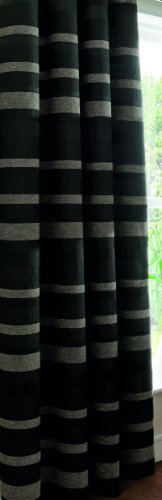 Catherine Lansfield Arlington Curtains 66 x 90 cm, Black