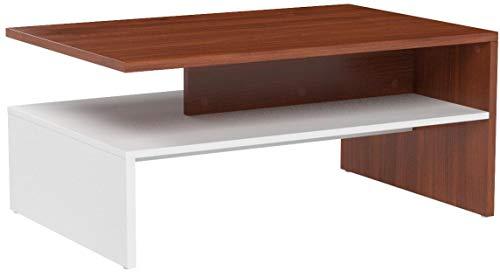 RICOO Tavolino Basso da Divano da Soggiorno Design WM080-W-ER Tavolo da  Salotto Giorno Mobile da Lavoro Moderno con Due Piani/Quadrato  Rettangolare/in ...