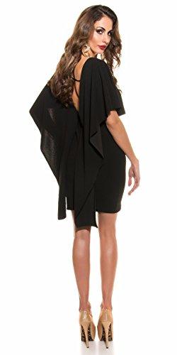 Damen kurzarm Chiffonkleid Chiffon Minikleid Kleid Dress Cocktailkleid  Schwarz