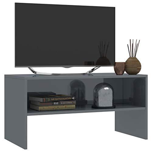 Tidyard TV-Schrank Fernsehschrank Spanplatte TV-Tisch Klassisch Stil mit 1 Offenen Fach Wohnung Ablageregal Sideboard Beistelltisch TV-Bank Monitorständer (Hochglanz-Grau, 80 x 40 x 40 cm)