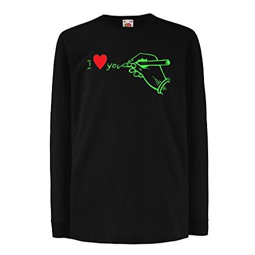 lepni.me Kinder-T-Shirt mit Langen Ärmeln Ich Liebe Dich, Perfekte Valentinstag-Outfits (14-15 Years Schwarz Grün)