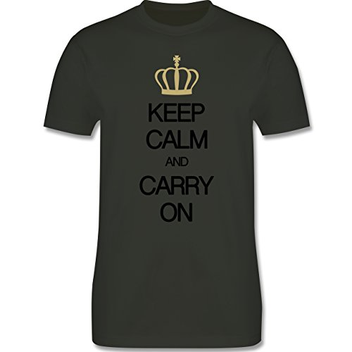 Keep calm - Keep calm and carry on - Herren Premium T-Shirt Army Grün