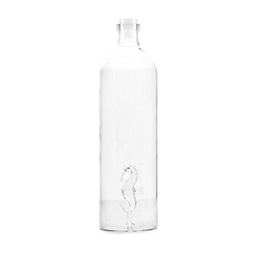 Balvi - Sea Horse Glass Water Bottle. It contains the Figure of a Seahorse. Includes a Silicone plug.