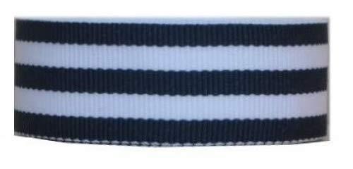 White Stripe Grosgrain (Mono Stripe Grosgrain 3,8cm 5Meter, 7Farben navy, white)