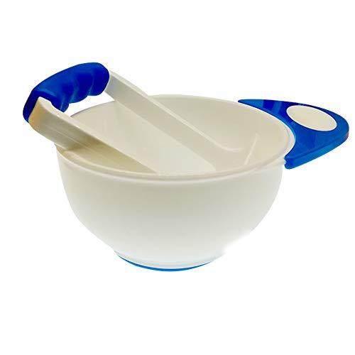 Baby Pürierset Babynahrungspressen Schüssel und Stampfer zum Pürieren von Gemüse oder Obst Gute Hilfe für Zubereitung von Selbstgemachter Babynahrung, Weiß Die Bowl Mill