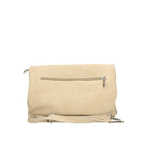 Chicca Borse Borsa a tracolla in pelle 28x22x5 100% Genuine Leather Beige