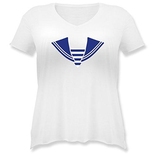 Karneval & Fasching - Matrose Kostüm Kragen - S (44) - Weiß - JHK603 - Weit geschnittenes Damen Shirt in großen Größen mit V-Ausschnitt (Matrose Kostüm Plus Size)
