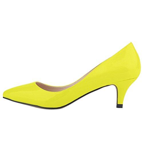 OCHENTA Damen Pumps Keilabsatz Mittelhoch aus PU-Leder mit Bonbonfarben Spitzen Sexy Ohneverschluss Gelb