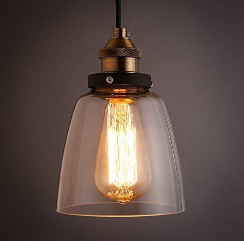 Maxmer Lampada a Sospensione Vetro Vintage Industriale Lampadario per  Cucina Sala da Pranzo Bar Ristorante Luce Pendente E27