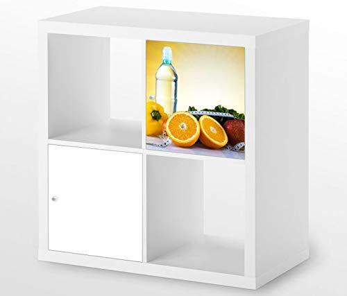 Möbelaufkleber für Ikea KALLAX / 1x Türelement Apotheke Medizin Apfel Kat4 Diät Obst Aufkleber Möbelfolie sticker (Ohne Möbel) Folie 25D462