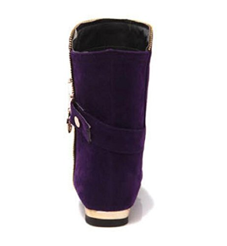 RTRY Chaussures pour femmes Bottes Bottes de combat d'automne en cachemire Talon chaussures à fermeture Éclair Rouge Gris Noir Noir décontracté US8 / EU39 / UK6 / CN39 fvsC4FeFJ