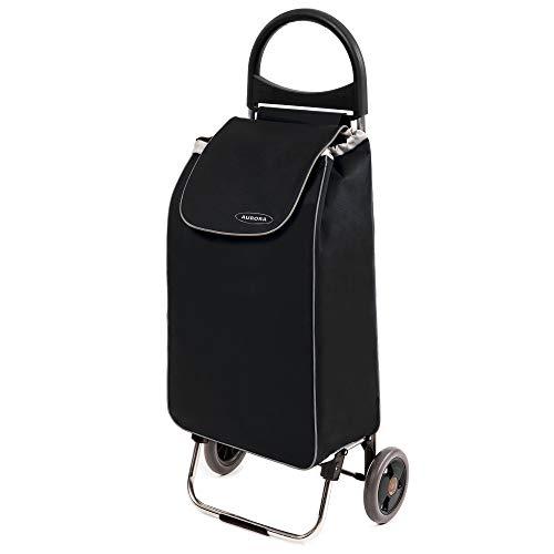 Einkaufstrolley Zussi in schwarz- Leichter Transport-Wagen Trolley 1,5kg mit leisen Gummi Rädern - Einkaufsroller mit 50l bis 30kg belastbar