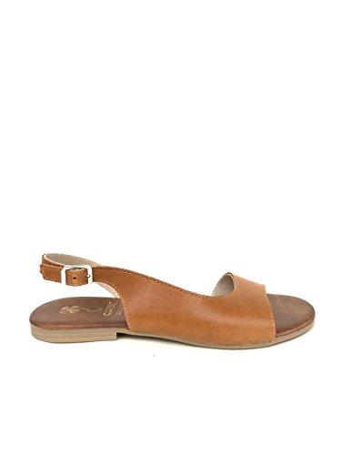 Sandali tacco basso CL461 in pelle cuoio bianco nero zeta MainApps Cuoio