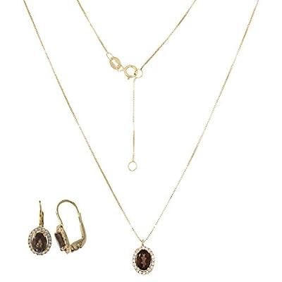 Ensemble de bijoux en or jaune 14kt avec quartz fumé et zircons - Gioiello Italiano