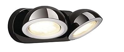 LED Strahler Wandlampe Spiegelleuchte 2x7W GX53 Spotleuchte chromfarbig 25cm schwarz chrom mit Schalter Design