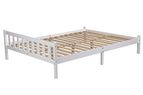 GreenForest Double Wooden Bed Frame 4ft6 Double Size White Color
