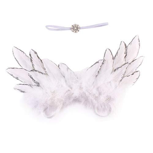 Neugeborenes Baby Foto Prop Kostüm Cute Angel Wings + Stirnband Fotografie Requisiten Junge Mädchen Zubehör (Color : White)