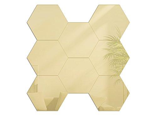 Modern Clock Hexagons Gold Mirror Hexagonal Spiegel Acryl 16 x 18 cm