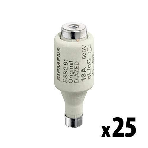 SIEMENS - x25 Stück DIAZED-Sicherungseinsatz 500V 20A -