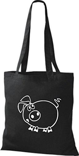 Shirtstown Stoffbeutel Tiere Schwein Sau Ferkel Schwarz