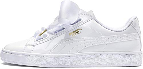 Puma Basket Heart Patent Wn\'s, Damen Sneakers, Weiß (Puma White-Puma White), 37.5 EU