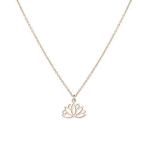 PURELEI Halskette Weihnachtsgeschenke Kette (Lotus Rosegold) Damen Frauen Schmuck Halskette Ketten Anhänger Jewellery Necklace Choker Modeschmuck Chain