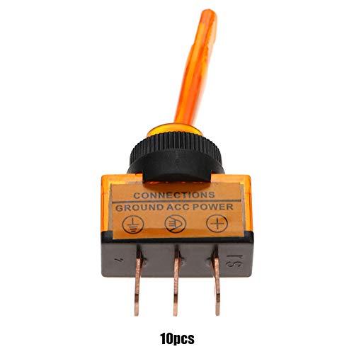 10 STÜCKE ASW-13D Kippschalter 12VDC 20A Led Kippschalter Langen Griff 3-Pin 12mm(Gelb) -