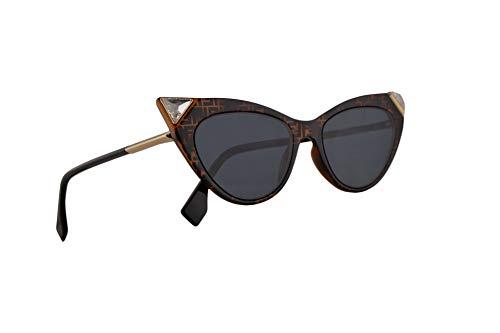 Fendi FF0356/S Sonnenbrille Dunkel Havana Mit Blauen Gläsern 52mm 086KU 0356S FF0356S FF 0356/S