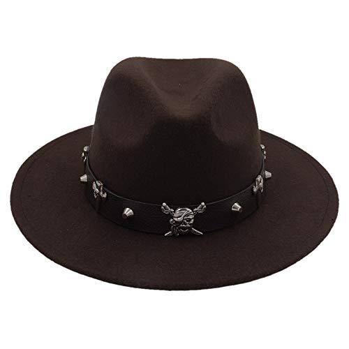Sunhat-TX Hut - Mode Wolle Frauen Outback Gold Kreis Fedora Hut Für Winter Herbst ElegantLady Floppy Cloche Breiter Krempe Jazz Caps (Farbe : Kaffee, Größe : 56-58cm)