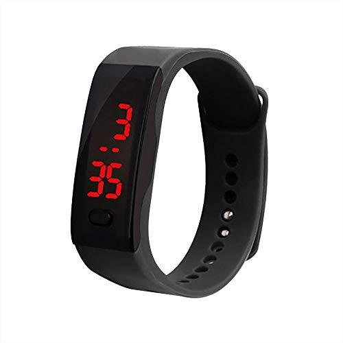 gaddrt Schrittzähler Smarte Uhren, LED Digital Display Armbanduhr Kinder Studenten Silica Gel Sportuhr (Schwarz)